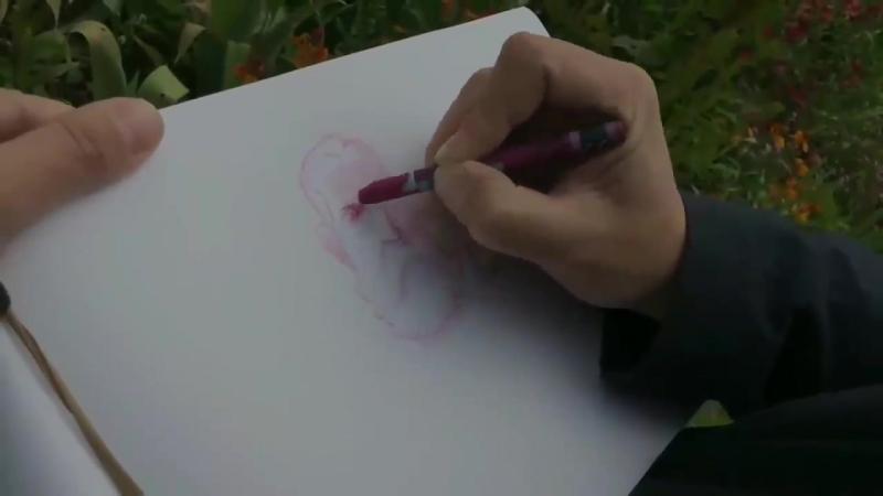 Рикард Эфа рисует портрет Моне