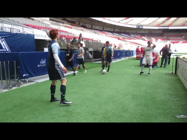 Bob Morley, KJ Apa and Charles Melton warm up for a charity soccer match
