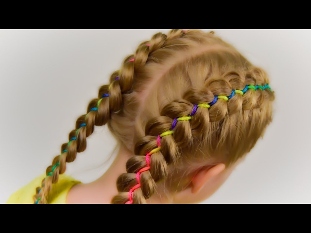 How To: 5 Strand Ribbon Dutch/French Braid. Hairstyle with Ribbon 2