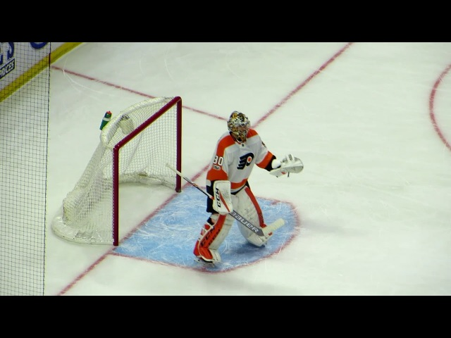 Michal Neuvirth in action during the Flyers @ Senators hockey game