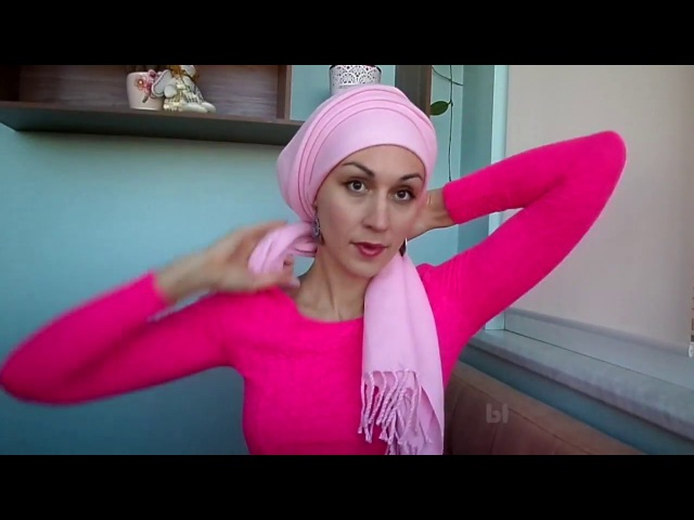 Теплый шарф / палантин на голове - легко фиксируем резинкой. Зима/осень