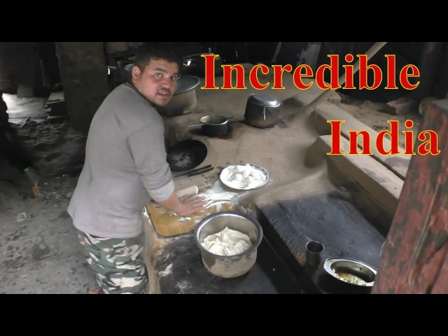 Stone stove in the Himalayas - Indian street food