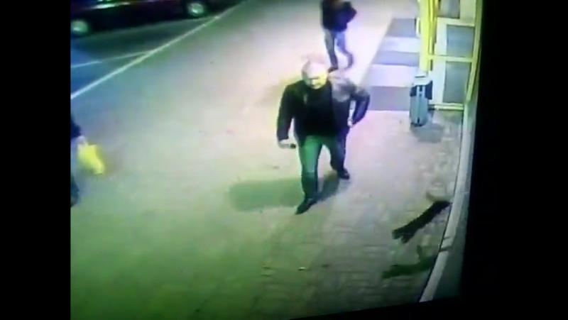 Мужчина бьет кота ногой возле Диониса в Полоцке
