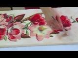 Magnolia Flowers - DIY Decoupage on canvas tutorial