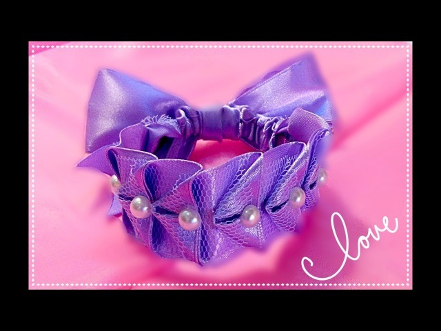 Резинка для волос из лент МК Резинка для гульки from satin ribbon Hair styil DIY