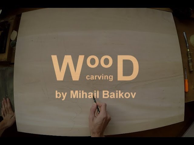 Wood carving process Dogs winter