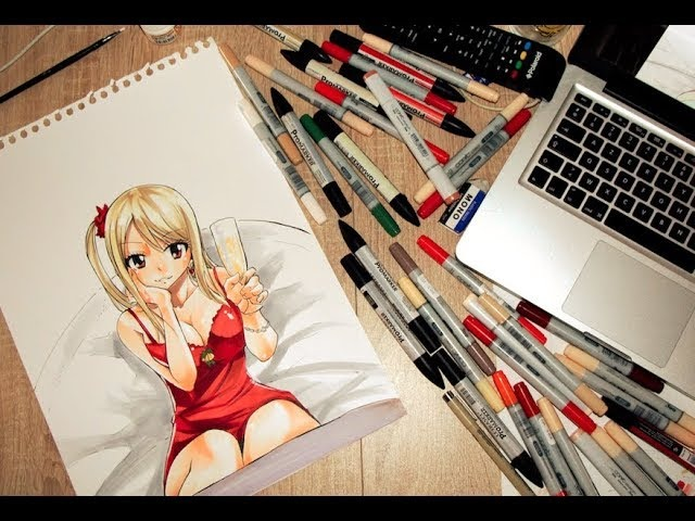 SPEED PAINTING FAIRY TAIL LUCY HEARTFILIA CHAMPAGNE