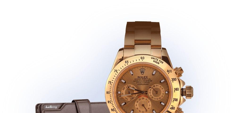 клатч baellerry business и часы rolex daytona в подарок кто-то приобретает все