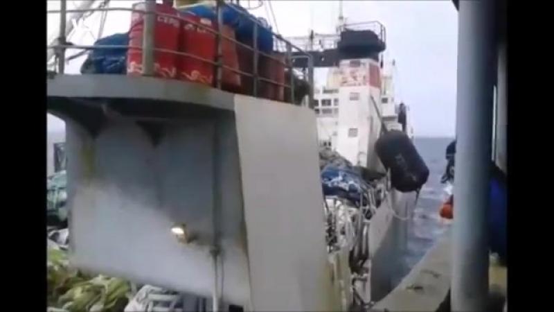 БАТМ Дальний Восток(бывш.Stende) за неделю до гибели/швартовка с плавбазой Всеволод Сибирцев