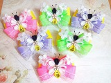 Нарядные резинки бантики пчелки из лент канзаши (часть 1)МК hair clips ribbon kanzashi DIY
