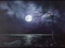 Ночное небо! Луна и блики на воде. Лимитированная палитра.Акрил. Night Scene , Limited palette