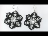 Серьги снежинки фриволите иглой анкарс, мк для начинающих. DIY Earrings snowflakes frivolite needle