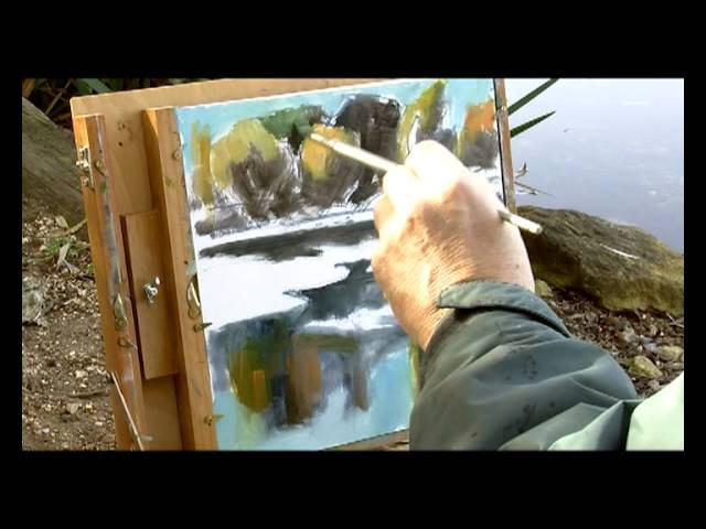 How to paint reflections on a lake with oil colours and a pochade box