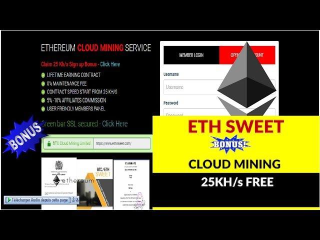 ETHEREUM CLOUD MINING SERVICE Claim 25 Kh/s Sign up Bonus