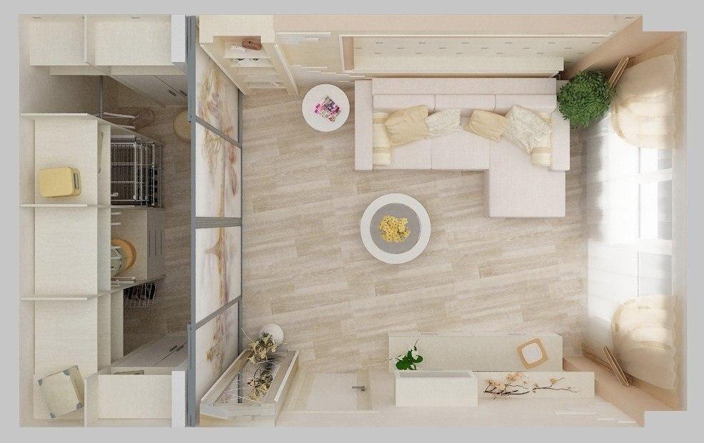 Дизайн интерьера однокомнатной квартиры, 44 кв.