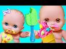 Куклы пупсики, Маша и Катя кушают кашу, беби бон, как мама. Маша и медведь!