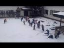 Первый раз физ-ра с лыжами))