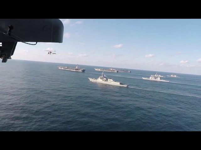 Редчайший видеокадр: USS Ronald Reagan, USS Theodore Roosevelt и USS Nimitz в единой эскадре