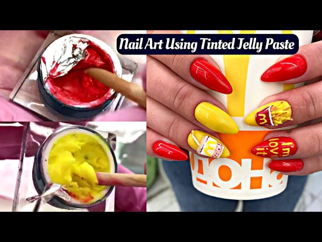 3D Acrylic McDonald's Nail Art Using Tinted Jelly Paste - 3D Fries And Juice Nails 🍟🍹