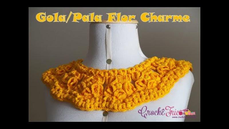 Gola (ou Pala) Flor Charme em Crochê - Destras - Prof. Ivy (Crochê Tricô)
