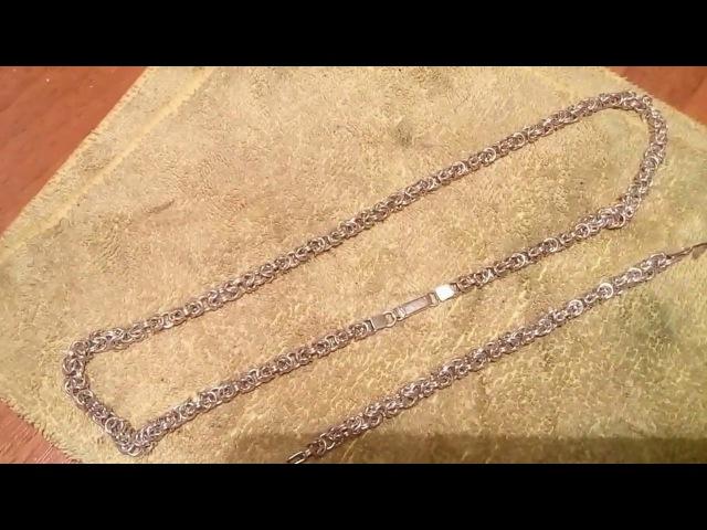 Византийская вязь №1 Редкая мужская цепочка Byzantine silver chain for men handmade