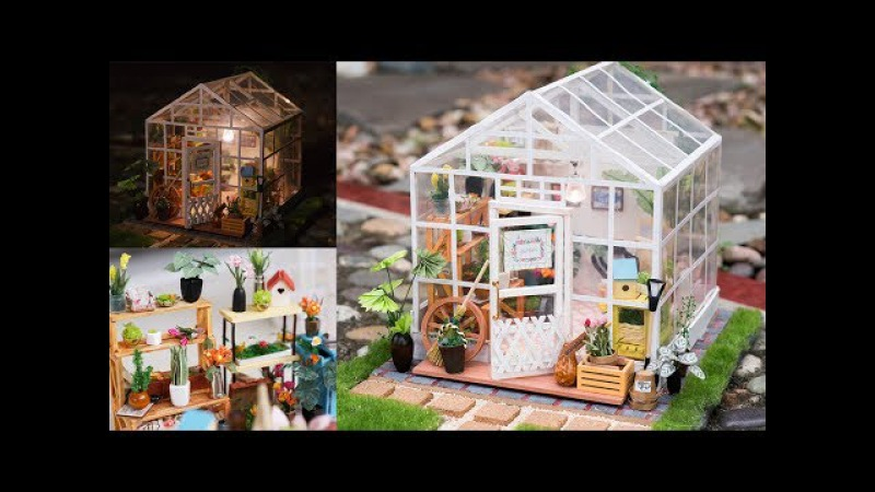 DIY Dollhouse Kit - Miniature Greenhouse - Cathy's Flower House with LED light