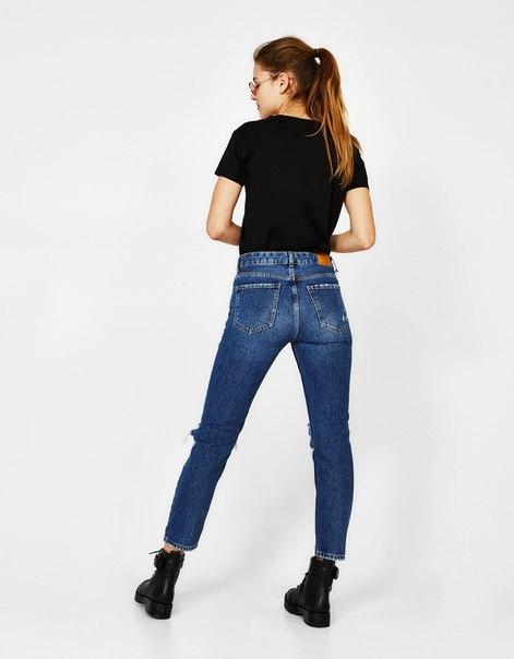 Укороченные джинсы прямого кроя с разрывами