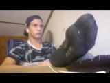smelly teen black socks show off