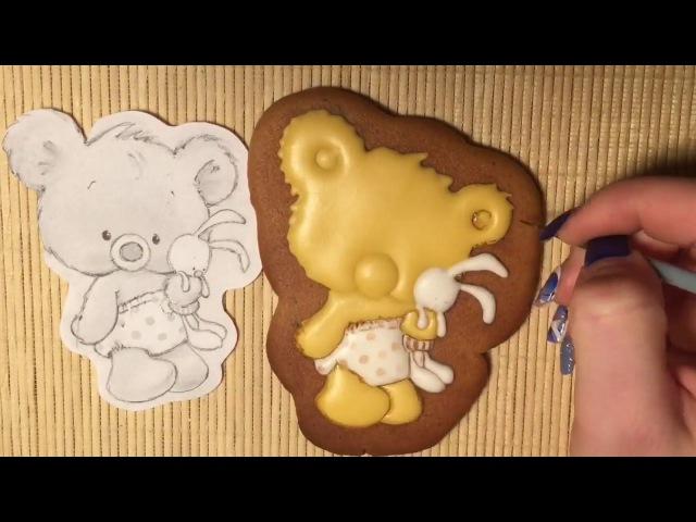 Имбирный пряник Роспись Айсинг Малыш мишка