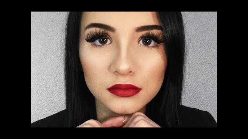 Red Lips Winged Liner Holiday Makeup!/Голливудский макияж