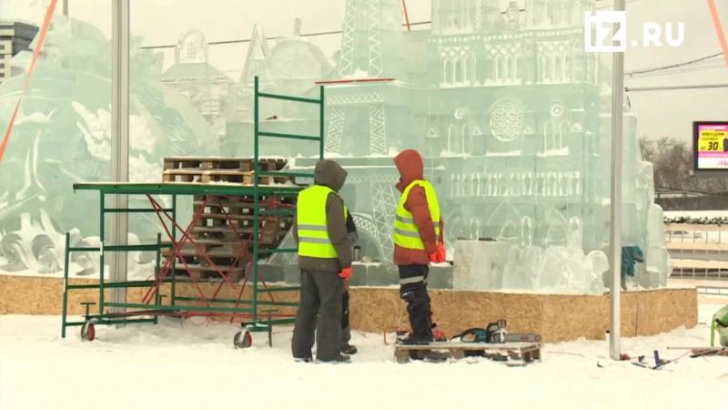 Прямаятрансляция установки ледяных скульптур на Поклонной горе