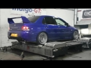430 bhp evo 9 on dyno with anti lag !