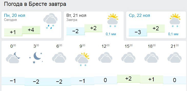 Мокрый снег и до 4 градусов мороза ожидается 21 ноября