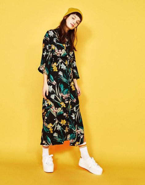 Платье рубашечного кроя с принтом