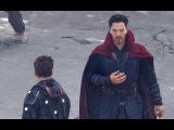 Robert Downey Jr. and Benedict Cumberbatch on the set Avengers: Infinity War
