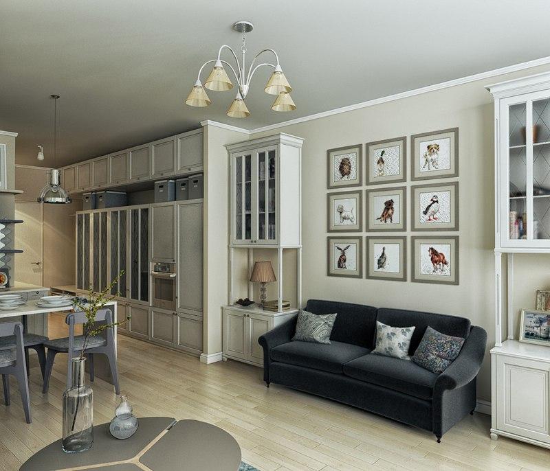 Проект квартиры 33 м в стиле прованс.