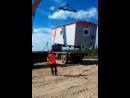 Перегрузка вагон дома с шоссейника на вездеход Месторождение в ЯНАО