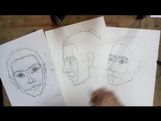 Как нарисовать портрет. ПОЛНЫЙ РАЗБОР. Урок 3 Поворот 3/4. Пропорции лица
