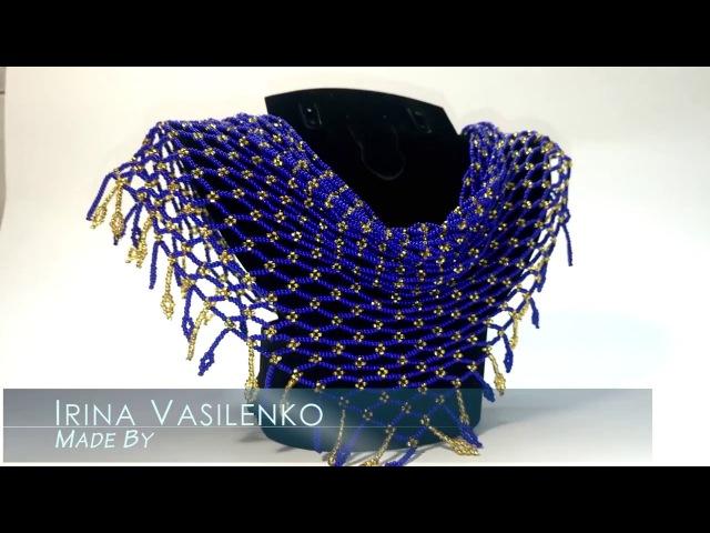 Колье косынка Славянка из чешского бисера. Seed beads necklace Slavic. Hand Made Маркет