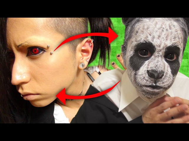 「Live配信」東京喰種のウタさんにパンダメイクを混ぜてみた!?What does happen when you mix up two different makeups!?