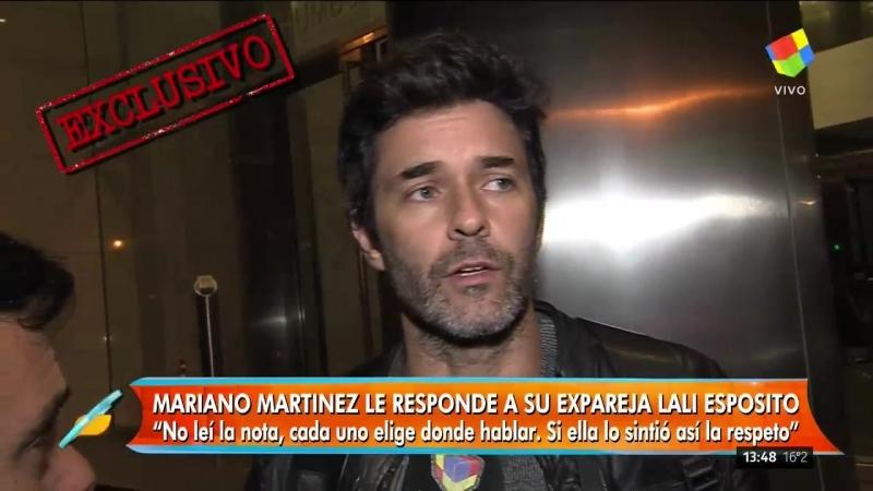 Mariano Martinez le responde a Lali Esposito: si ella lo sintio asi lo respeto