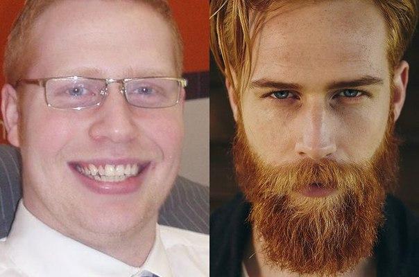 Вы верите, что это один человек Страховой агент стал моделью, отрастив бороду