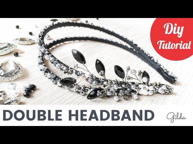 Beaded Bridal Double Hair Headband DIY Tutorial [English Subtitles]