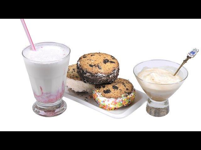 Три десерта с мороженым: сэндвич, аффогато и молочный коктейль.