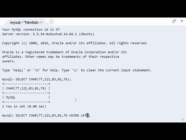 MySQL char строковая функция