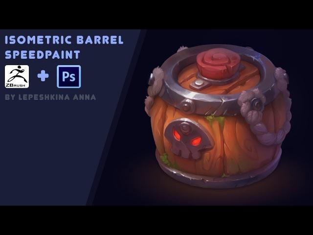 Isometric barrel speedpaint Zbrush and photoshop