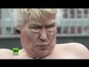 Жирная активистка Femen возле штатовской комендатуры в Киеве передала Трампу прекращать меряться хуями