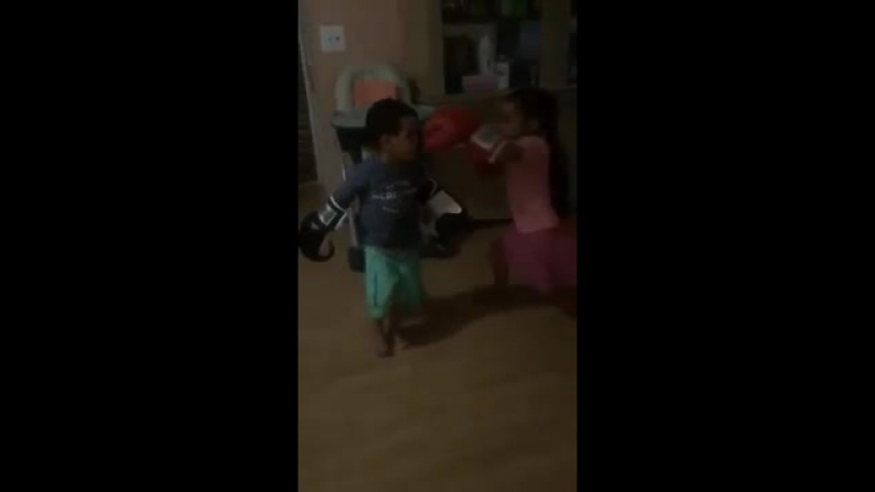Brother and sister boxing