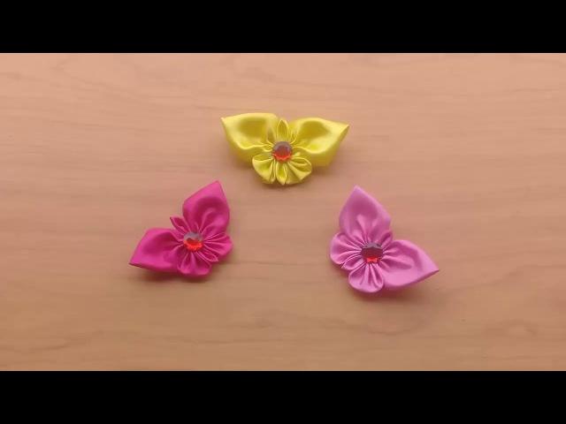 Cara Mudah Membuat Bross Kanzashi Kupu kupu dari Kain Satin
