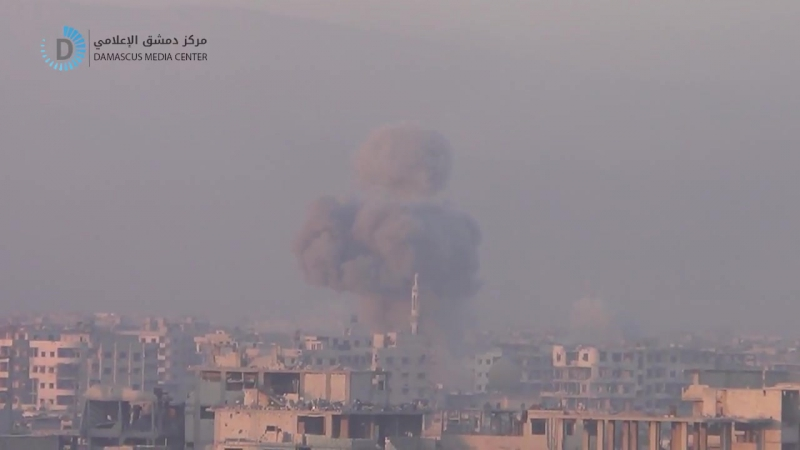 Сирия 12.01.18: ВВС САР нанесли конкретные авиаудары по бармалеям в г. Хараста, восточная Гута!